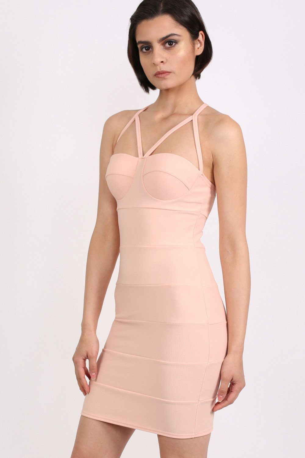 Strappy Ribbed Bandage Bodycon Mini Dress in Nude 0