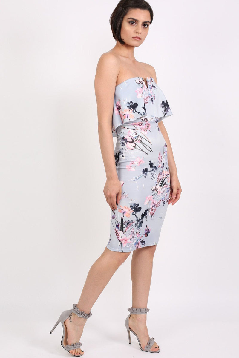 Floral V Front Bandeau Frill Detail Bodycon Midi Dress in Light Grey 3