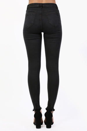Stretch Skinny Cut Out Hem Jeans in Black 1