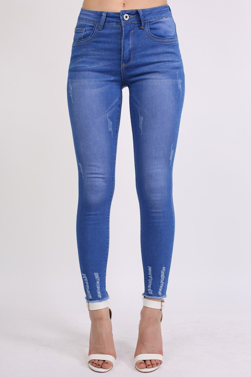 Frayed Hem Distressed Skinny Jeans in Denim 0