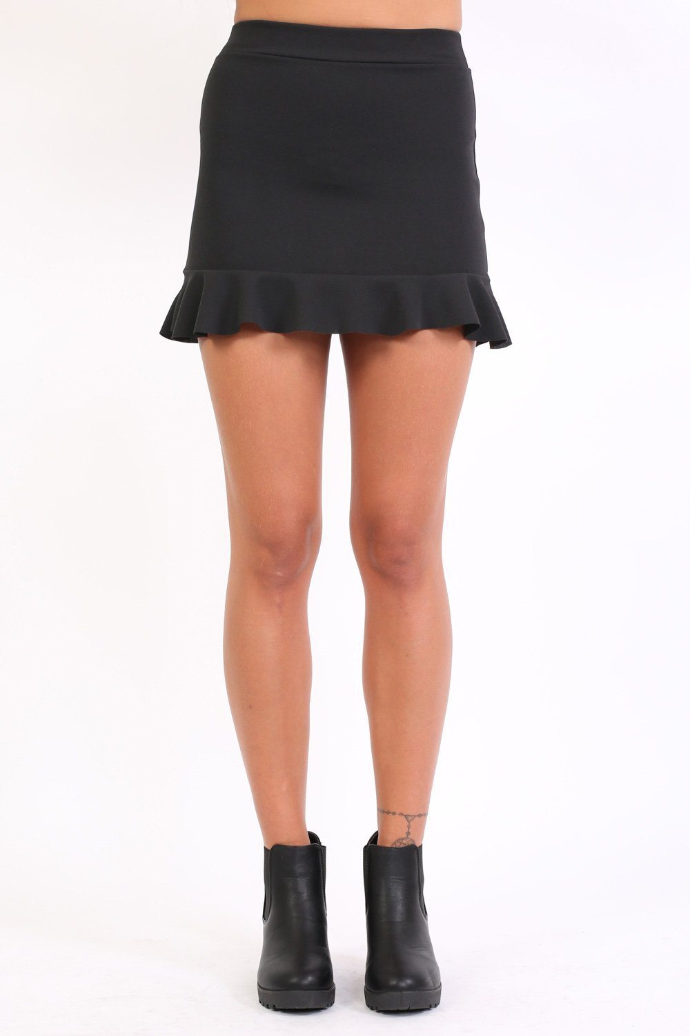 Plain Frill Hem Mini Skirt in Black 0