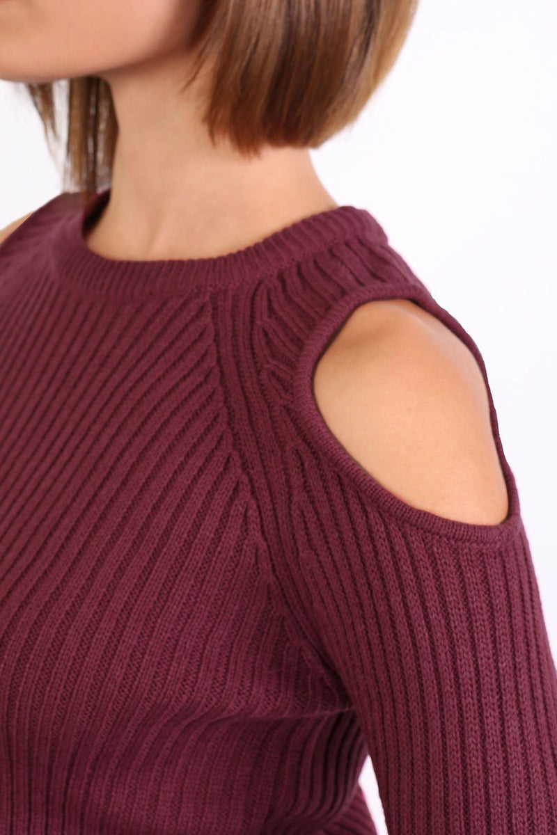 Cold Shoulder Knitted Ribbed Long Sleeve Jumper in Burgundy Red 2