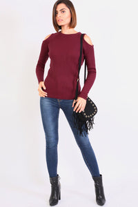 Cold Shoulder Knitted Ribbed Long Sleeve Jumper in Burgundy Red 3