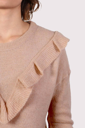 Frill Front Long Sleeve Jumper in Dusty Pink 2
