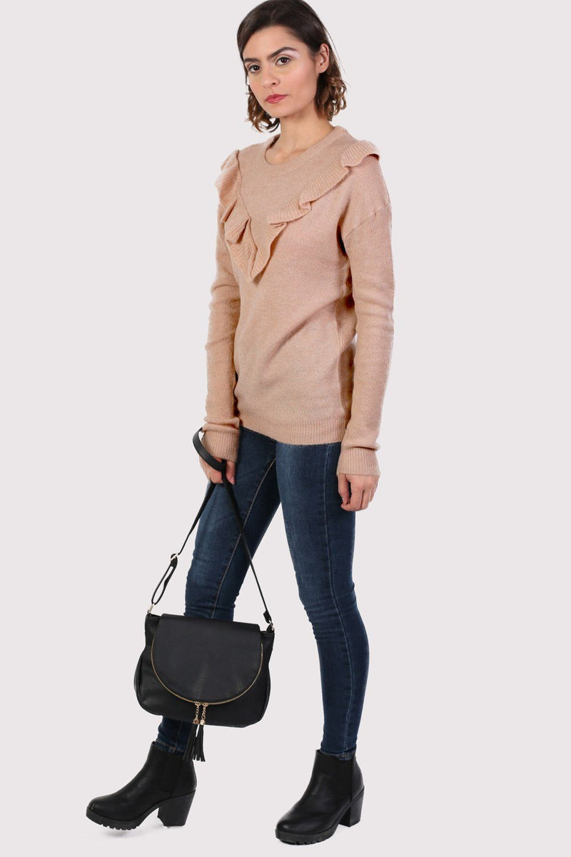 Frill Front Long Sleeve Jumper in Dusty Pink 3