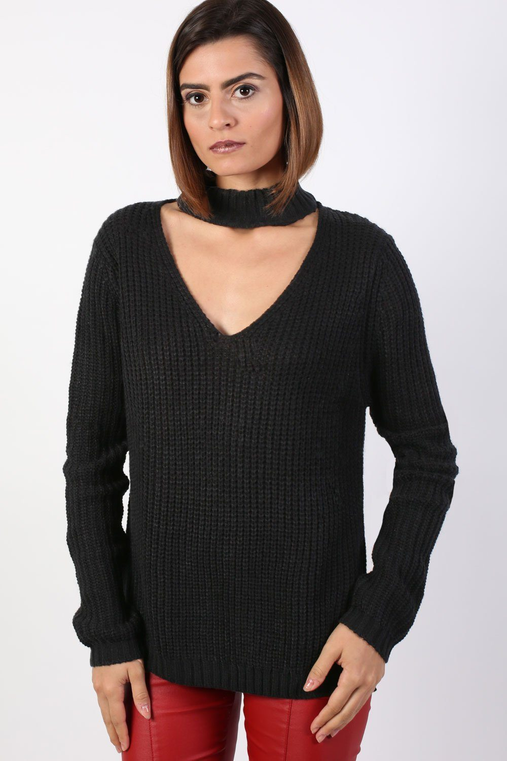 Choker V Neck Long Sleeve Ribbed Jumper in Black 0