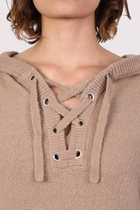 Lace Up Front Hooded Jumper in Camel Brown 2