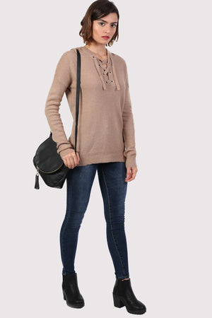 Lace Up Front Hooded Jumper in Camel Brown 3