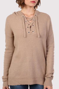 Lace Up Front Hooded Jumper in Camel Brown 4