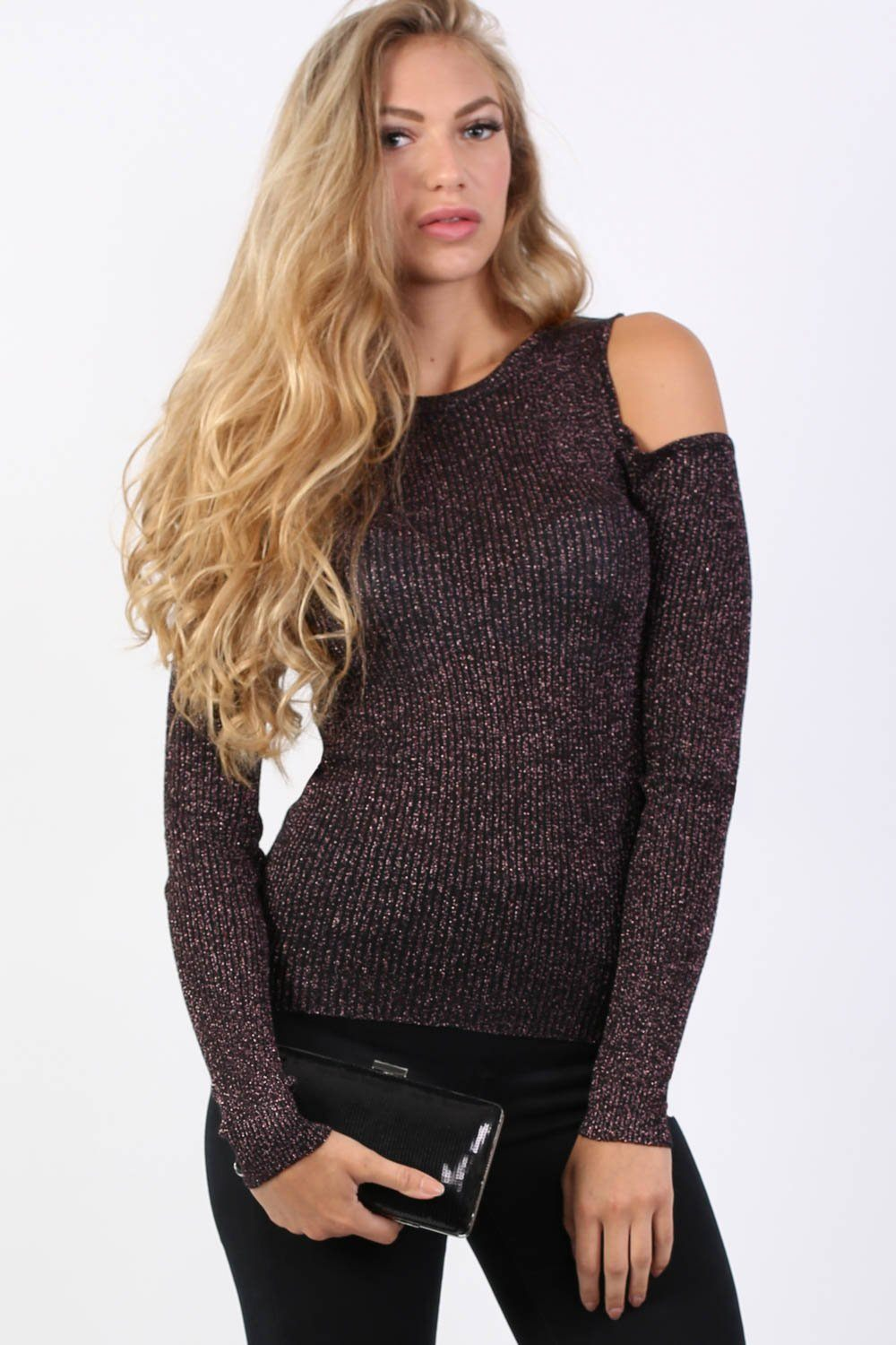 Metallic Fine Rib Knit Cold Shoulder Jumper in Copper 0