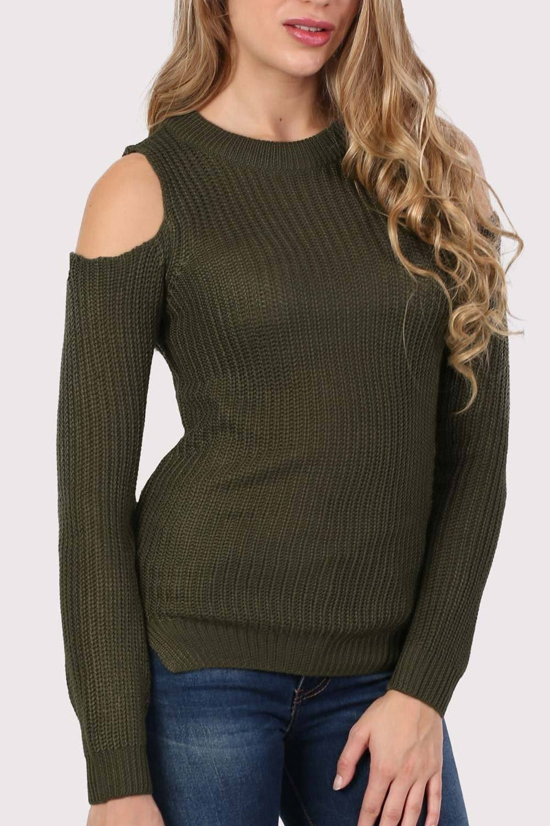 Ribbed Cold Shoulder Jumper in Khaki Green 4