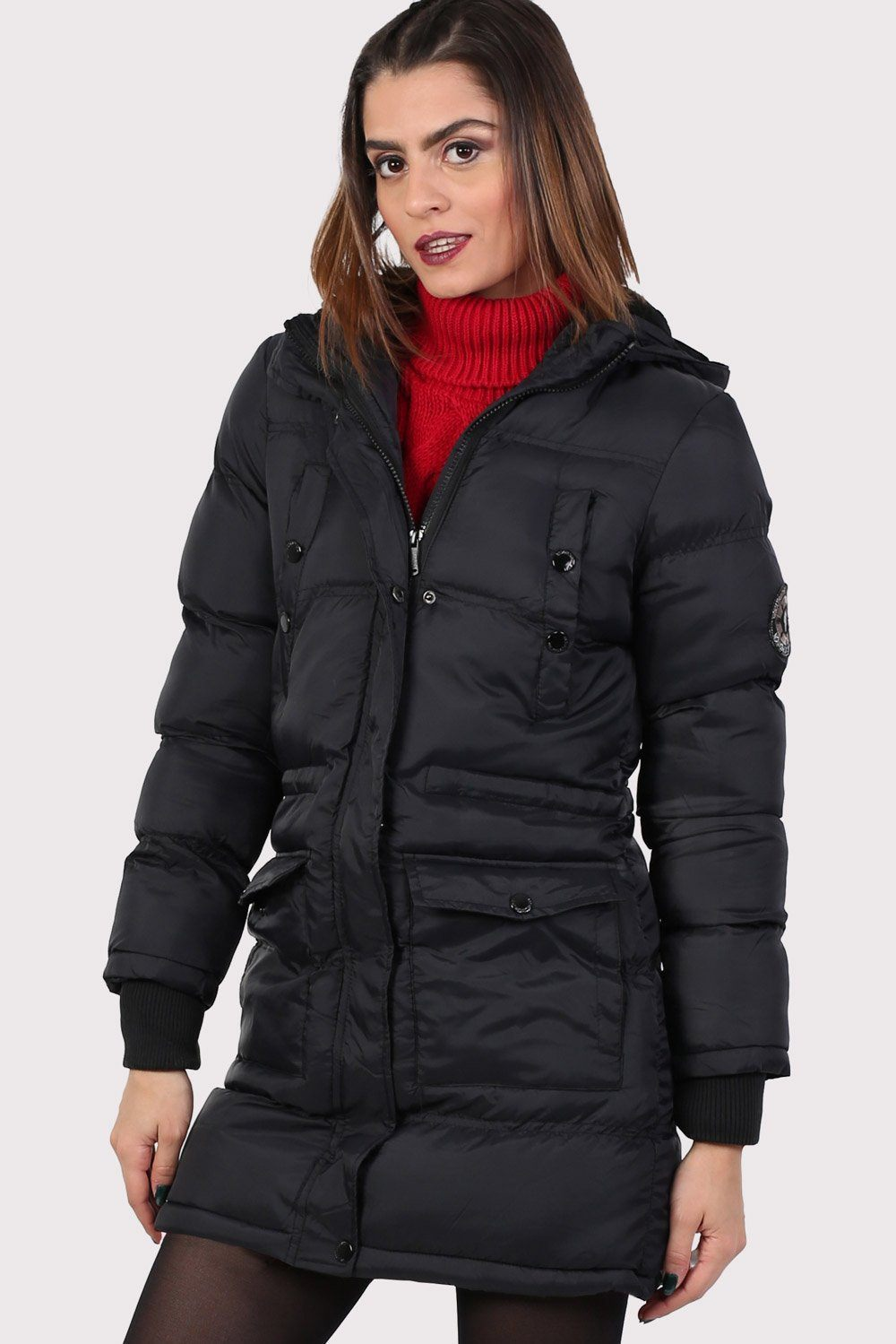 Long Line Padded Puffer Coat With Hood in Black 0