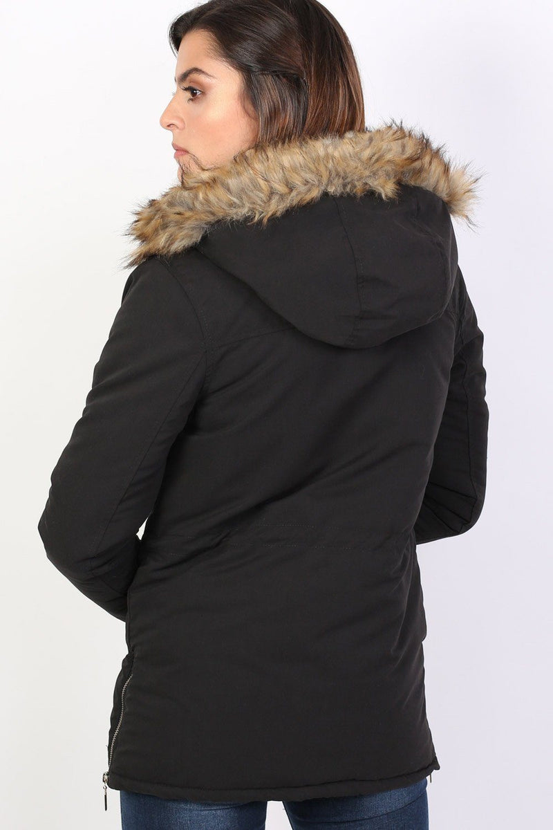 Faux Fur Trim Hooded Parka Coat in Black 1