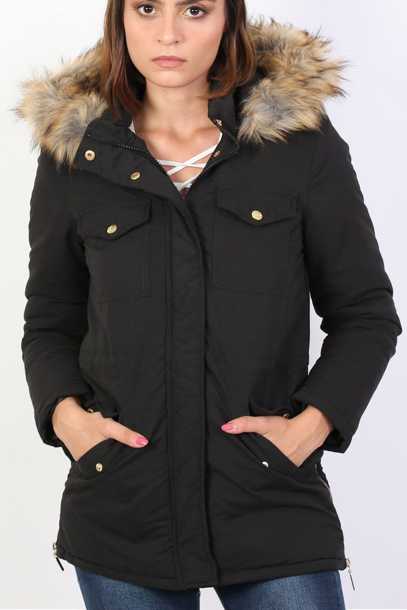 Faux Fur Trim Hooded Parka Coat in Black 3