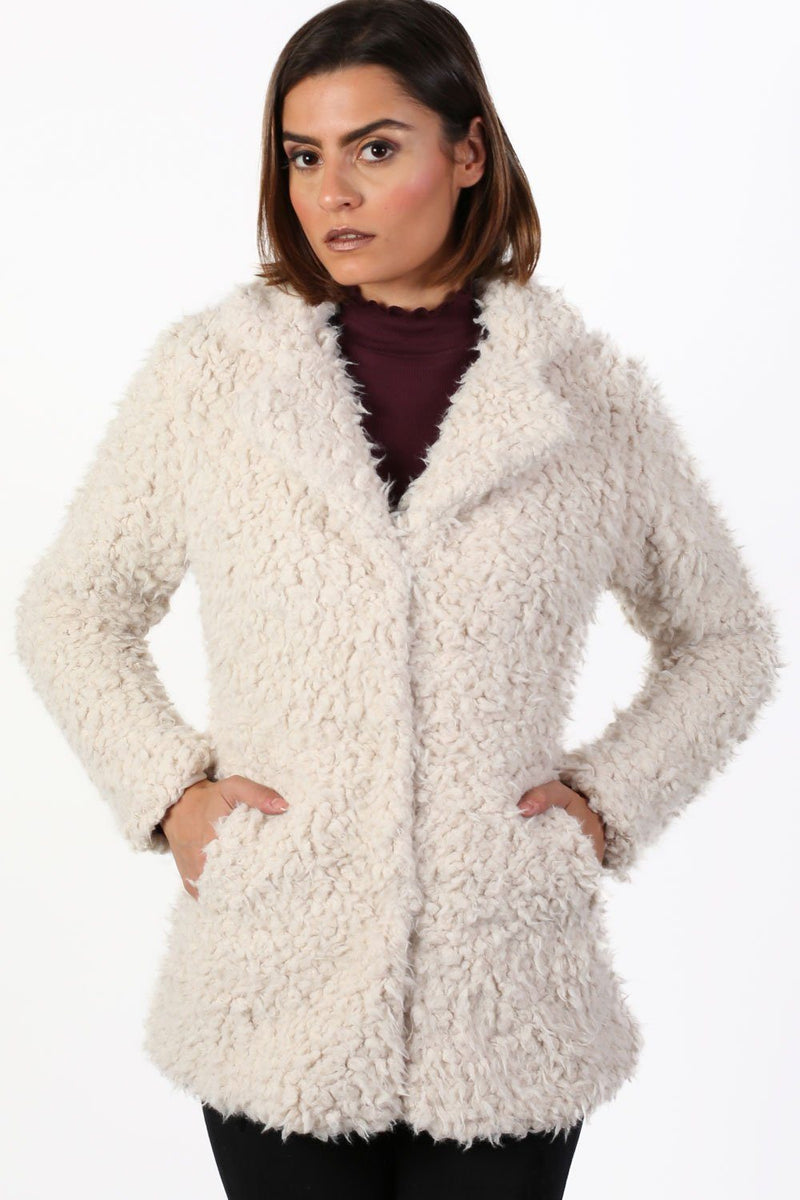 Shaggy Soft Touch Faux Fur Long Sleeve Jacket in Cream 1