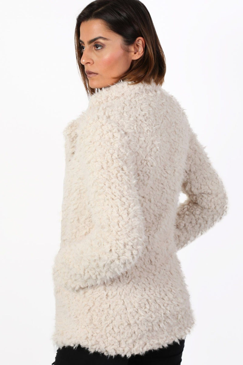 Shaggy Soft Touch Faux Fur Long Sleeve Jacket in Cream 2