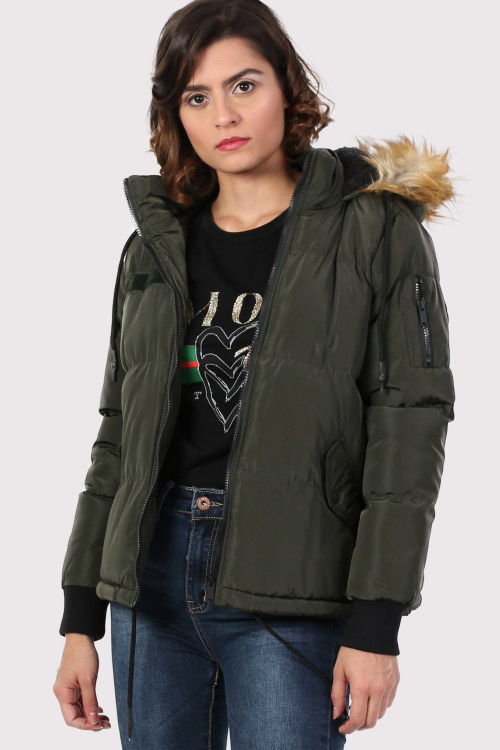 Faux Fur Trim Hooded Padded Jacket in Khaki Green 0