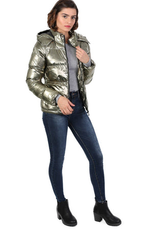 Metallic Puffer Jacket With Hood in Mint Green 3