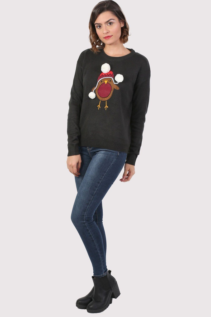 Christmas Robin Pom Pom Jumper in Black 3