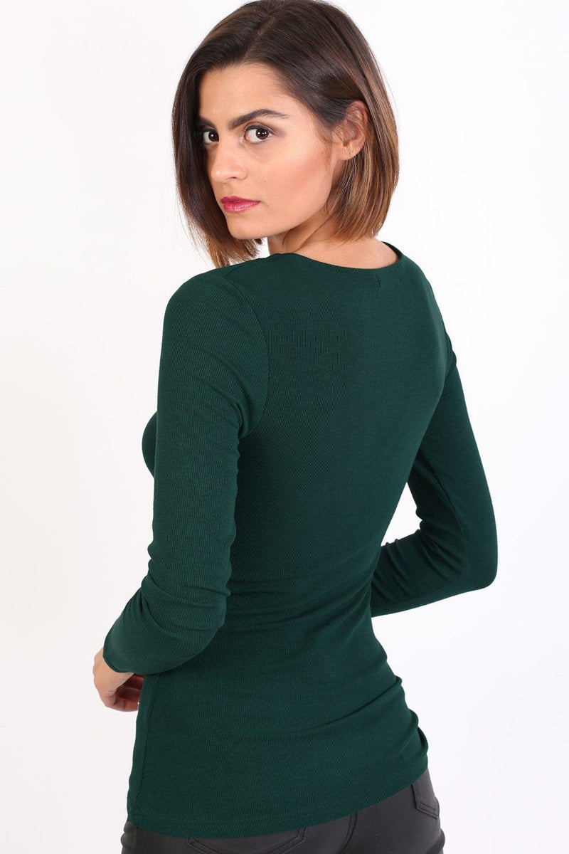Plain Fine Rib Long Sleeve Lace Up Front Top in Green 1