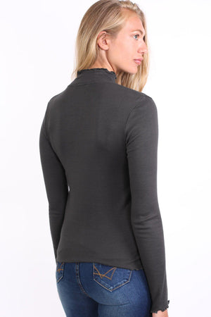 Plain Fine Rib Fluted Edge Detail Long Sleeve Top in Charcoal Grey 1