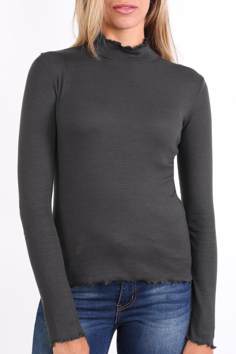 Plain Fine Rib Fluted Edge Detail Long Sleeve Top in Charcoal Grey 4