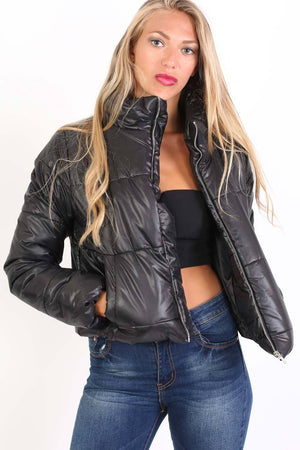 Cropped Puffer Jacket in Black 0