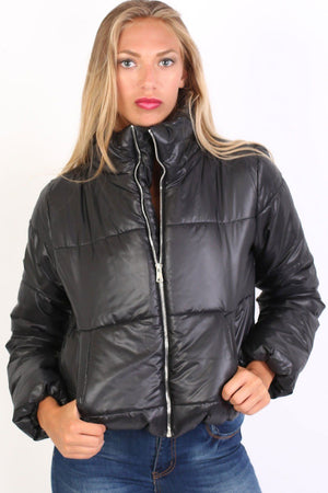 Cropped Puffer Jacket in Black 1