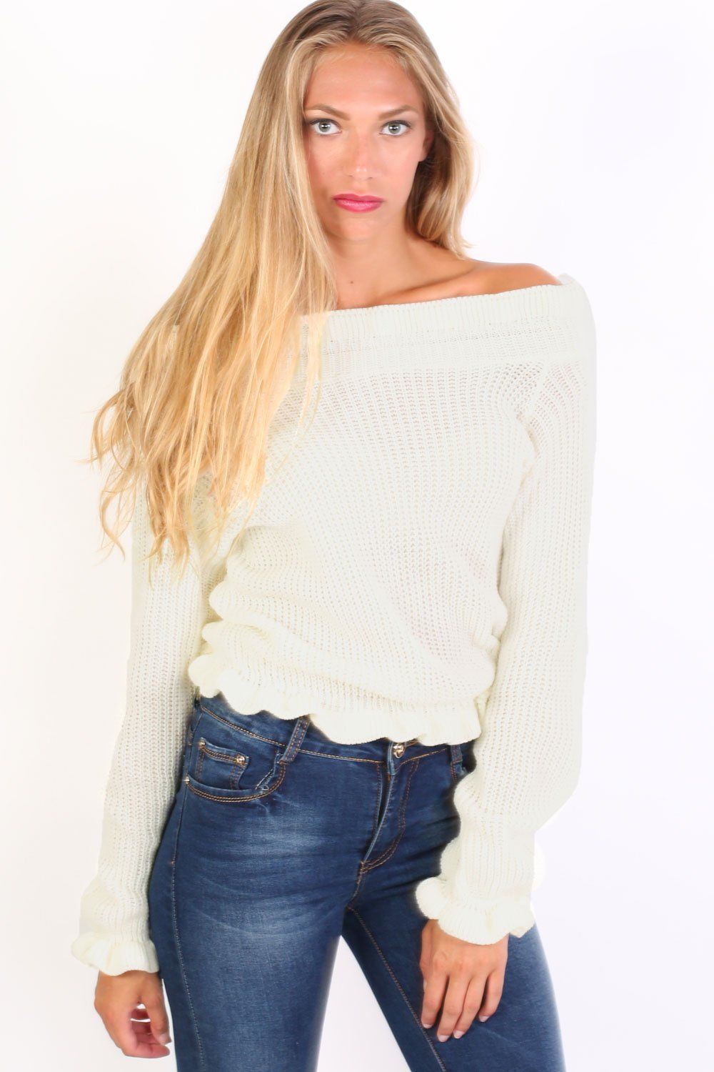 Frill Neck Long Sleeve Knitted Jumper in Cream 0
