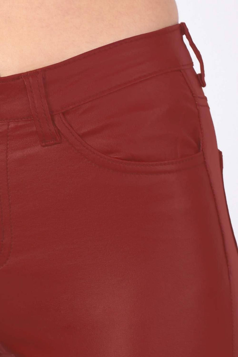 Faux Leather Jean Style Stretchy Skinny Trousers in Red 2
