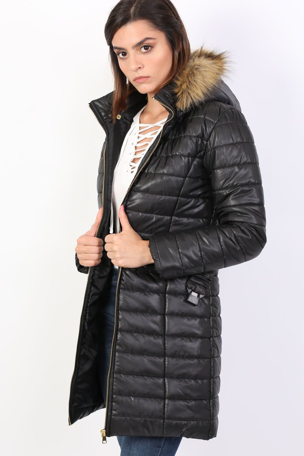 Padded 3/4 Coat With Faux Fur Trim Hood in Black 0