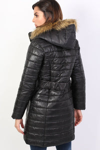 Padded 3/4 Coat With Faux Fur Trim Hood in Black 1