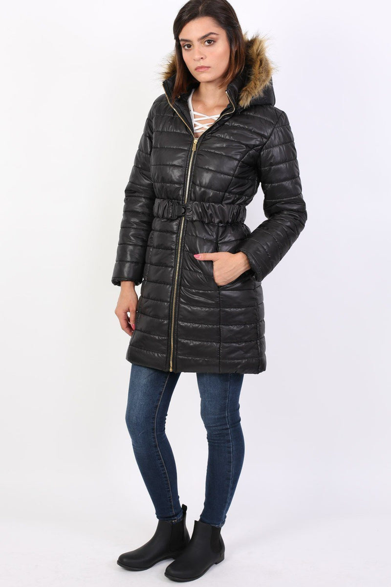 Padded 3/4 Coat With Faux Fur Trim Hood in Black 2