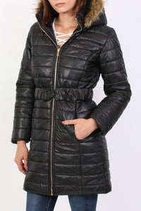 Padded 3/4 Coat With Faux Fur Trim Hood in Black 3
