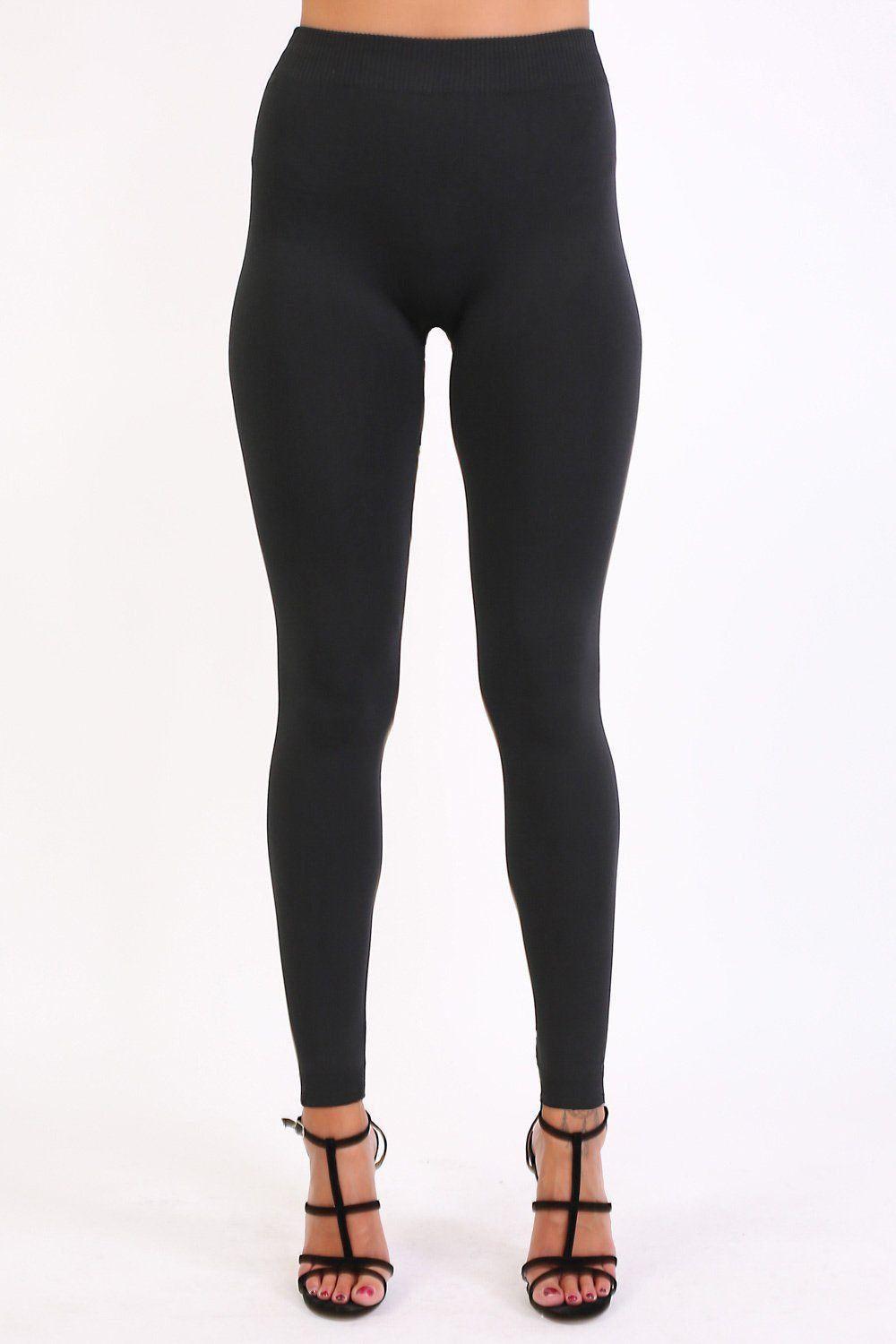 Plain Fleece Long Leggings in Black 0