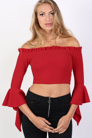 Plain Bardot Frill Sleeve Crop Top in Red 0