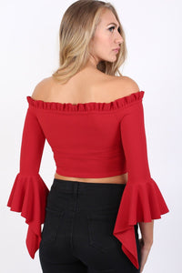 Plain Bardot Frill Sleeve Crop Top in Red 1
