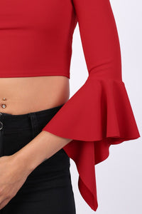 Plain Bardot Frill Sleeve Crop Top in Red 2