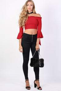 Plain Bardot Frill Sleeve Crop Top in Red 3