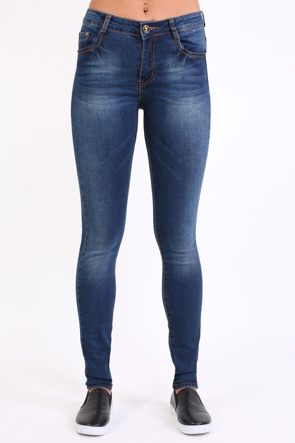 Sandblast Effect Skinny Jeans in Dark Denim 0