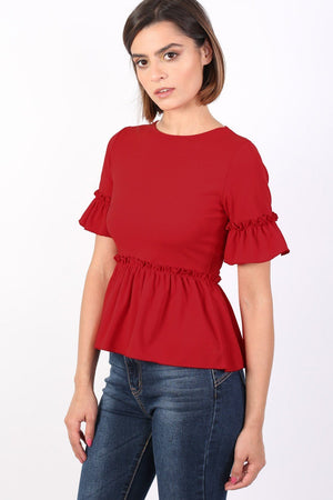 Plain Frill Detail Peplum Top in Red 0
