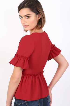 Plain Frill Detail Peplum Top in Red 1