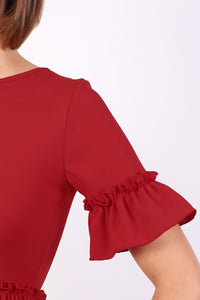 Plain Frill Detail Peplum Top in Red 2