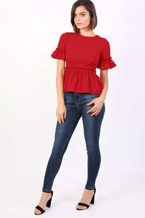 Plain Frill Detail Peplum Top in Red 3