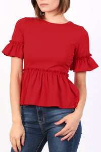 Plain Frill Detail Peplum Top in Red 4