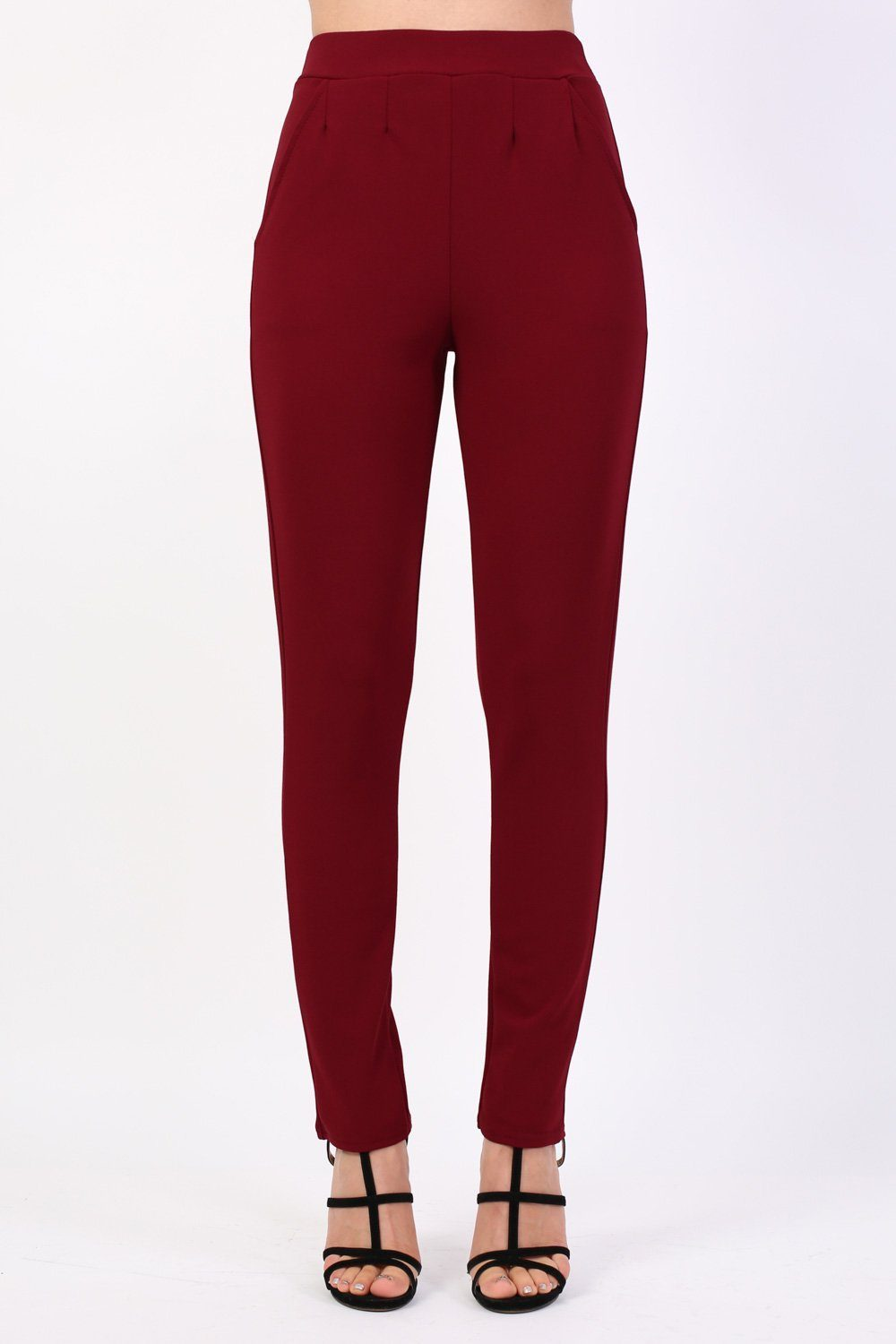 Plain Straight Leg Trousers in Wine Red 0