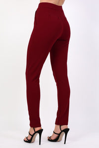 Plain Straight Leg Trousers in Wine Red 1