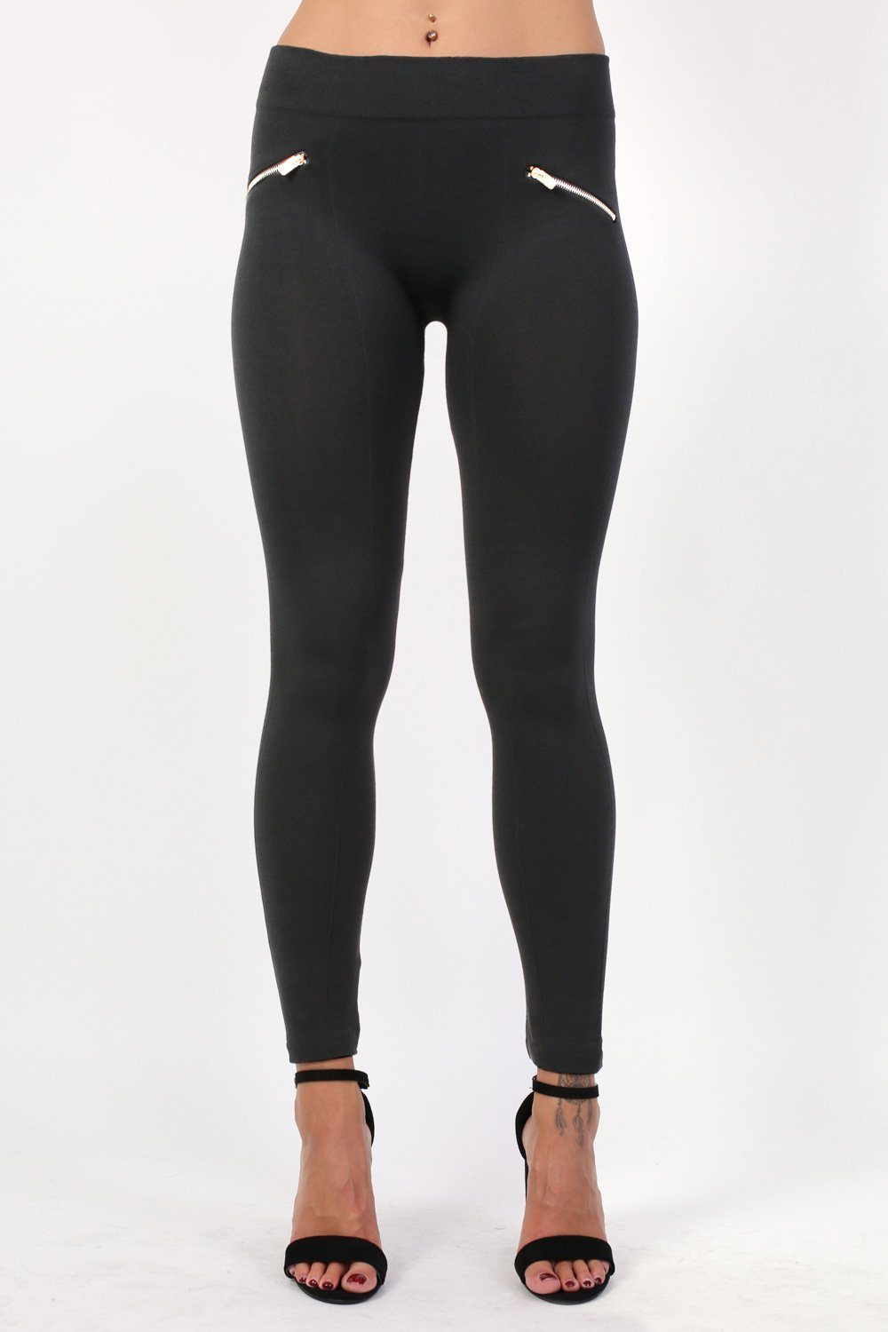 Plain Zip Detail Fleece Leggings in Black 0