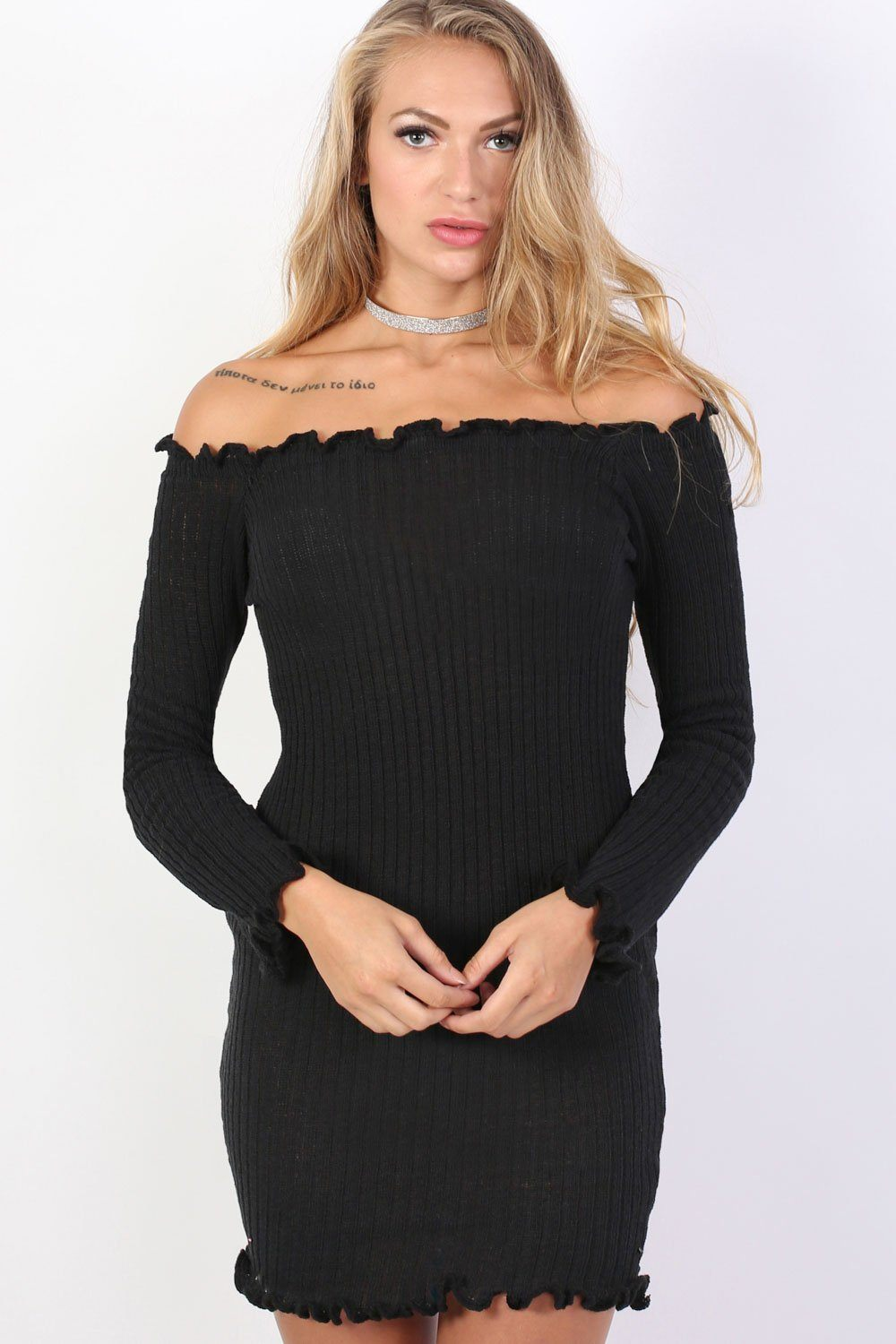 Frill Detail Knit Bardot Long Sleeve Mini Dress in Black 0