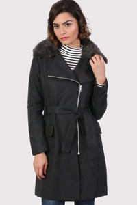 Faux Fur Collar Wool Blend Coat in Black 0